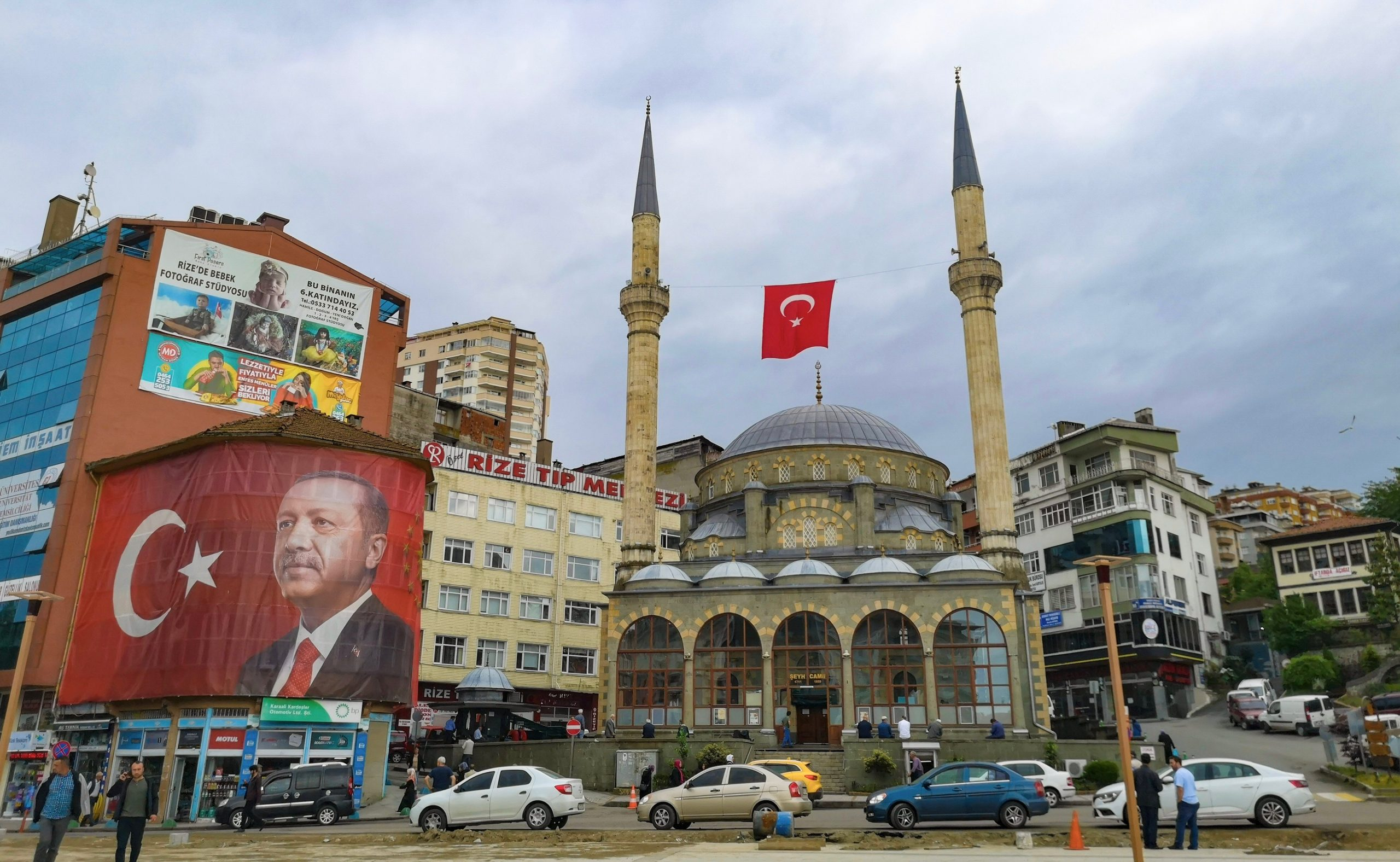 Erdoğan and a Mosque in Rize, Turkey