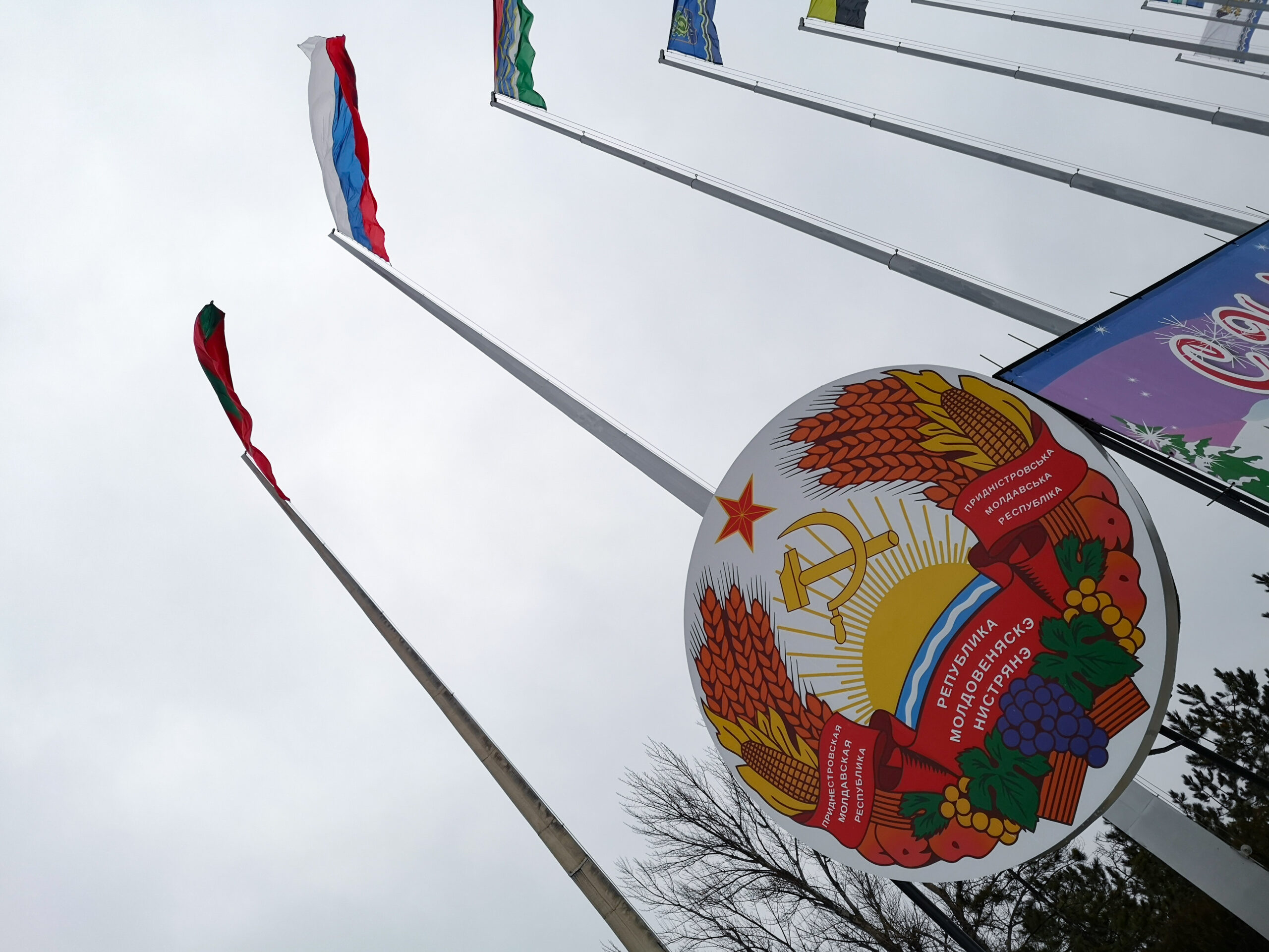 Coat of Arms of Transnistria beneath the PMR regional flags