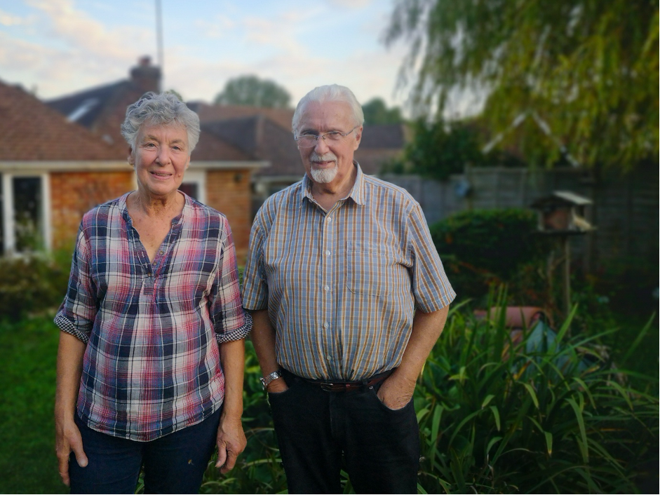 Jane Oxley and Mike Kelly in Steyning during lockdown